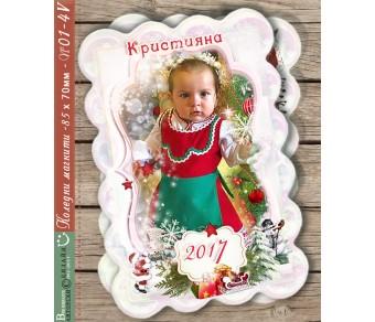Коледни Магнити с Нежни цветове и Акцент върху Снимката :: Модел №01-4V - ☆.。.:* Коледни Арт Календари |